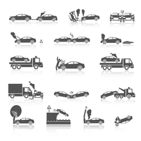 Black and white car crash and accidents icons with pedestrian warning sign and tow truck vector illustration 60016028610| 写真素材・ストックフォト・画像・イラスト素材|アマナイメージズ