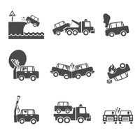 Black and white car accidents icons with tow truck street light  and tree crash isolated vector illustration 60016028611| 写真素材・ストックフォト・画像・イラスト素材|アマナイメージズ