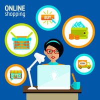 Business woman person on laptop in online shopping search buy payment delivery concept vector illustration. 60016028725| 写真素材・ストックフォト・画像・イラスト素材|アマナイメージズ