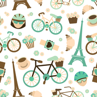 Bicycle french tour sport seamless pattern with bike croissant cyclist vector illustration 60016028731| 写真素材・ストックフォト・画像・イラスト素材|アマナイメージズ