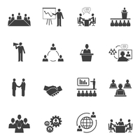 Business people online meeting strategic pictograms set of presentation online conference and teamwork isolated vector illustrat 60016028807| 写真素材・ストックフォト・画像・イラスト素材|アマナイメージズ