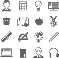 Education school university e-learning black and white icons set with science elements isolated vector illustration 60016028883| 写真素材・ストックフォト・画像・イラスト素材|アマナイメージズ