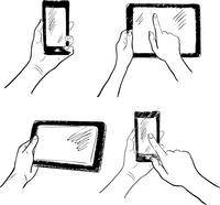 Hand gestures holding smartphone tablet touchscreen sketch set isolated vector illustration 60016028898| 写真素材・ストックフォト・画像・イラスト素材|アマナイメージズ