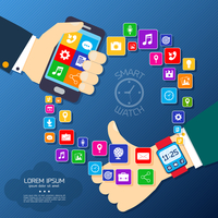 Smart watch smartphone synchro concept with thumbs up hand and mobile phone applications icons vector illustration 60016028911| 写真素材・ストックフォト・画像・イラスト素材|アマナイメージズ