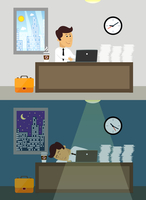 Business life workaholic worker in office day and night scene vector illustration 60016028944| 写真素材・ストックフォト・画像・イラスト素材|アマナイメージズ