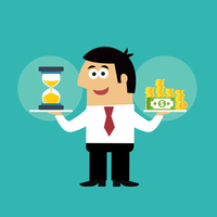 Business life employee with hourglass and coins in time is money concept vector illustration 60016028963| 写真素材・ストックフォト・画像・イラスト素材|アマナイメージズ