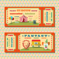 Two vintage circus  fairy show tent tickets templates with clown and exotic animals vector illustration 60016028989| 写真素材・ストックフォト・画像・イラスト素材|アマナイメージズ