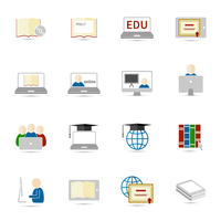 Online education e-learning flat webinar digital school icons set vector illustration 60016029027| 写真素材・ストックフォト・画像・イラスト素材|アマナイメージズ
