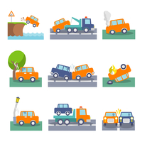 Colored car crash accidents and driving safety icons set isolated vector illustration 60016029174| 写真素材・ストックフォト・画像・イラスト素材|アマナイメージズ