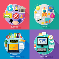 Business types concept startup office work freelance icons set isolated vector illustration 60016029255| 写真素材・ストックフォト・画像・イラスト素材|アマナイメージズ