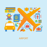 Airport flat concept set of airplane taxi passport ticket icons vector illustration 60016029297| 写真素材・ストックフォト・画像・イラスト素材|アマナイメージズ