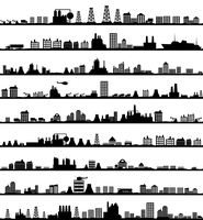 Collection of city landscapes. A vector illustration 60016029655| 写真素材・ストックフォト・画像・イラスト素材|アマナイメージズ