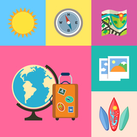 Flat vacation holidays and travel icons set of globe suitcase compass and map vector illustration 60016029681| 写真素材・ストックフォト・画像・イラスト素材|アマナイメージズ