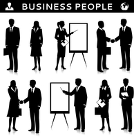 Flipcharts with business people silhouettes talking handshaking and collaborating vector illustration 60016029693| 写真素材・ストックフォト・画像・イラスト素材|アマナイメージズ