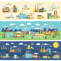 Industrial buildings factories facilities public offices and power plants horizontal banners set vector illustration 60016029735| 写真素材・ストックフォト・画像・イラスト素材|アマナイメージズ