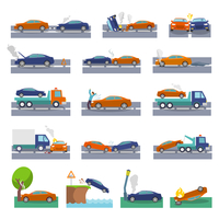 Car crash and accidents icons set with collision fire flood insurance events vector illustration 60016029804| 写真素材・ストックフォト・画像・イラスト素材|アマナイメージズ